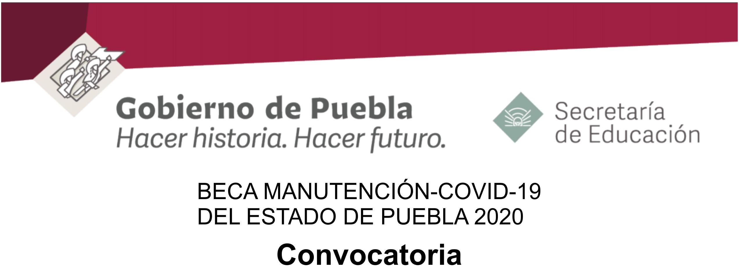 banner BECA MANUTENCIÓN-COVID-19 DEL ESTADO DE PUEBLA 2020
